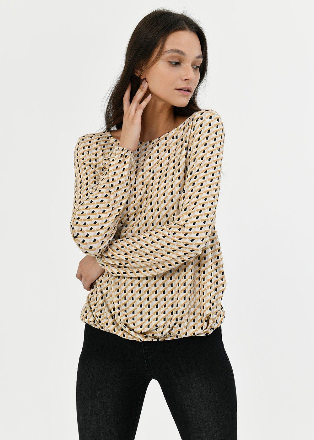 T-shirt Anna modello ovetto - Black /  Miele Fantasia - Donna