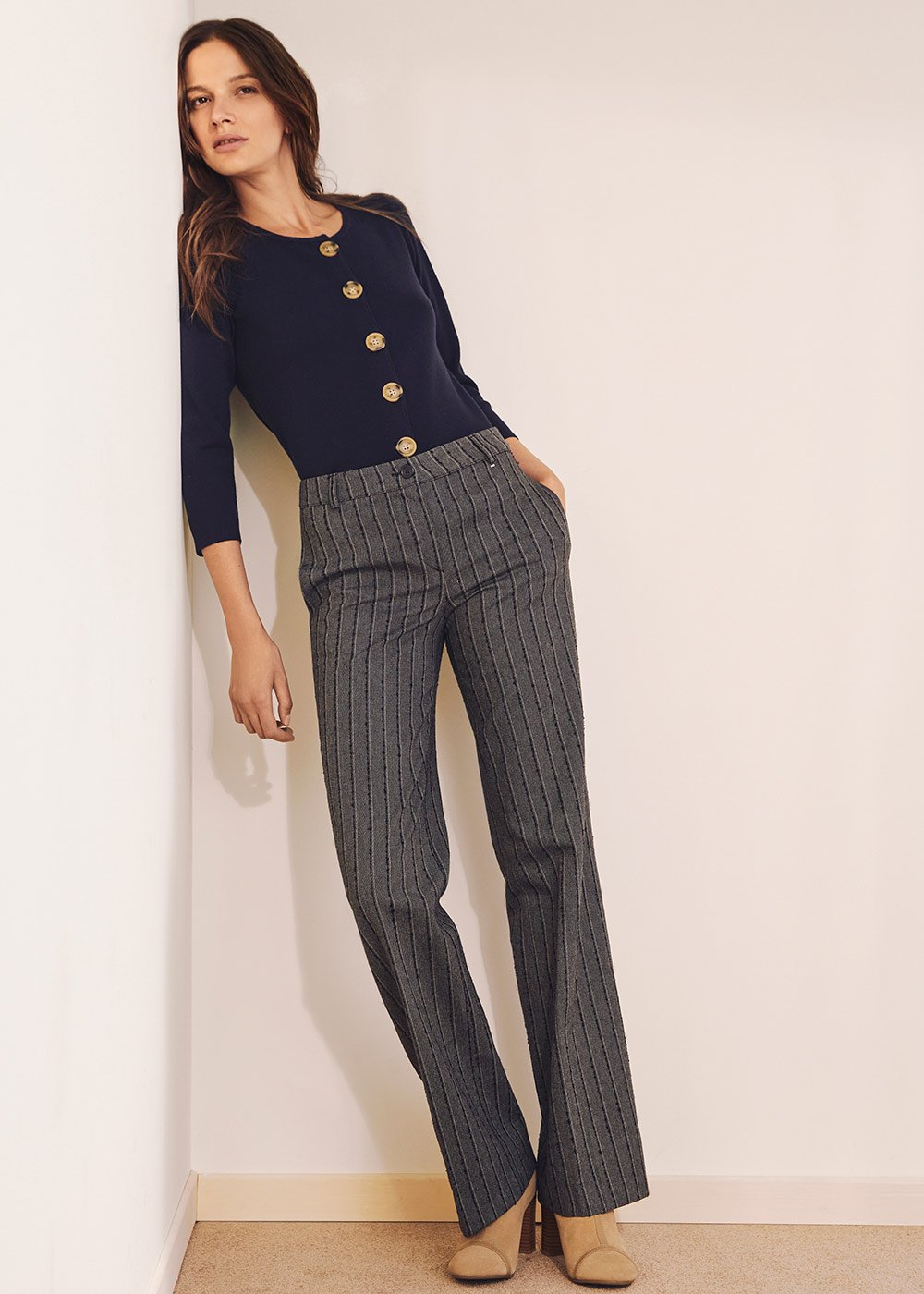 Pantalone Clair in policotone - Blue /  BeigeStripes - Donna