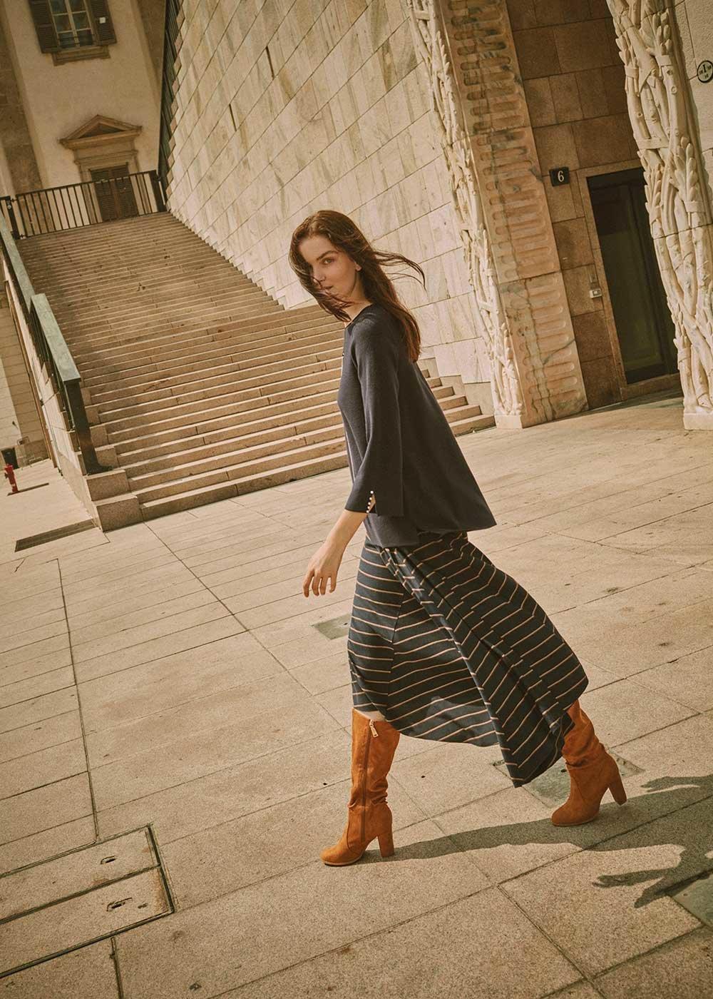 Glenda circle skirt - Blue Bronze Stripes - Woman