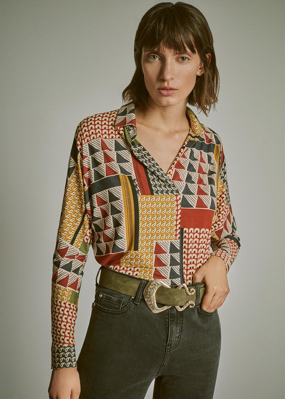 Selly t-shirt with '70s-style pattern - Green Bronze Multi - Woman