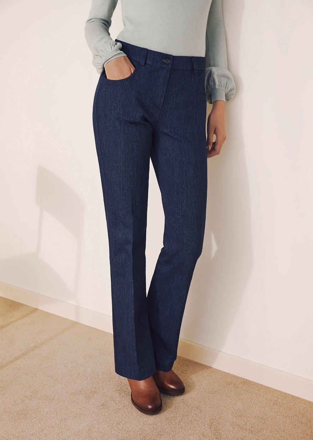 Cindy denim-effect cotton trousers - Blue - Woman