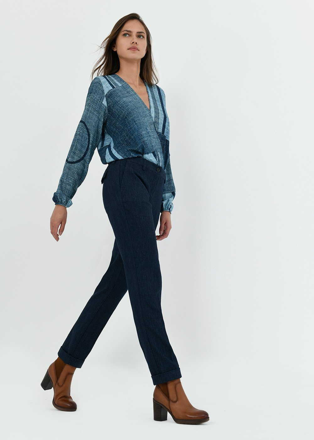 Bella trousers with denim effect - Blue - Woman
