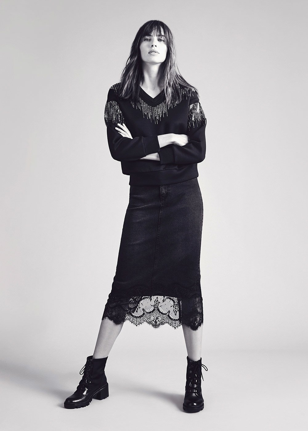 Gaby cotton skirt with lace hem - Black - Woman