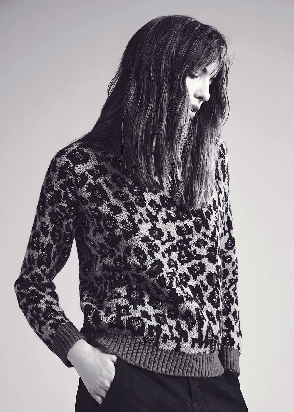 Mila sweater with spotted pattern - Safari / Black / Animalier - Woman