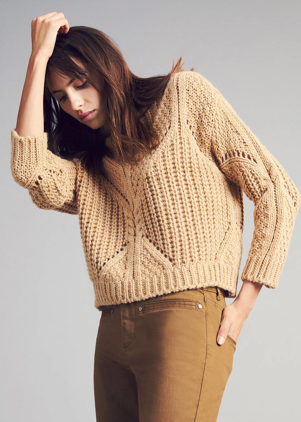Maryel openwork stitch sweater - Safari / Black / Animalier - Woman