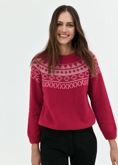 Merida wool sweater with Norwegian pattern