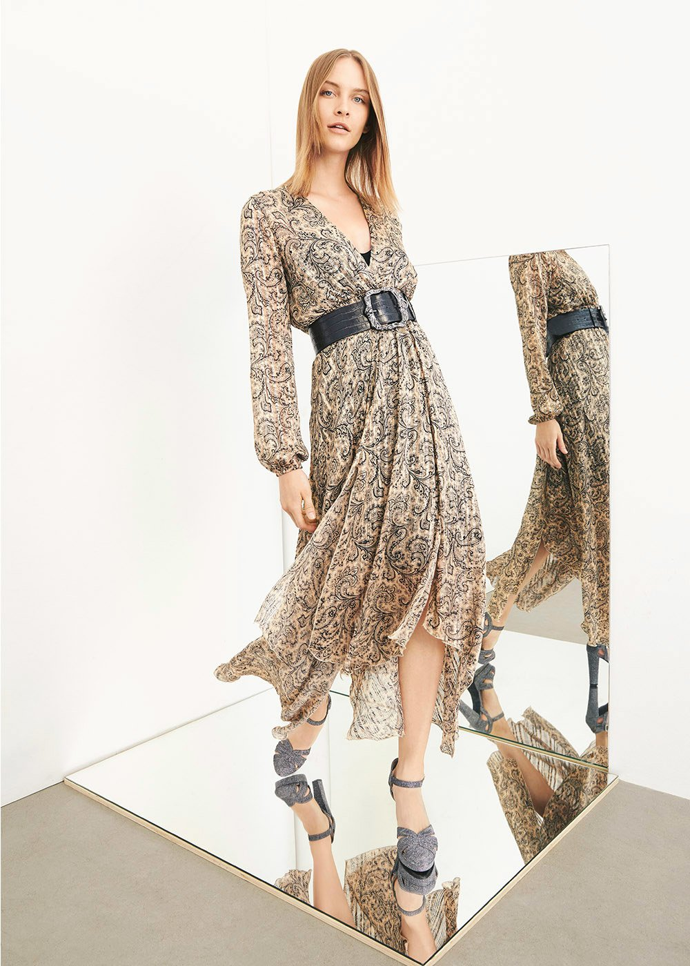 Ally dress with paisley print - Doeskin /  Black Fantasia - Woman