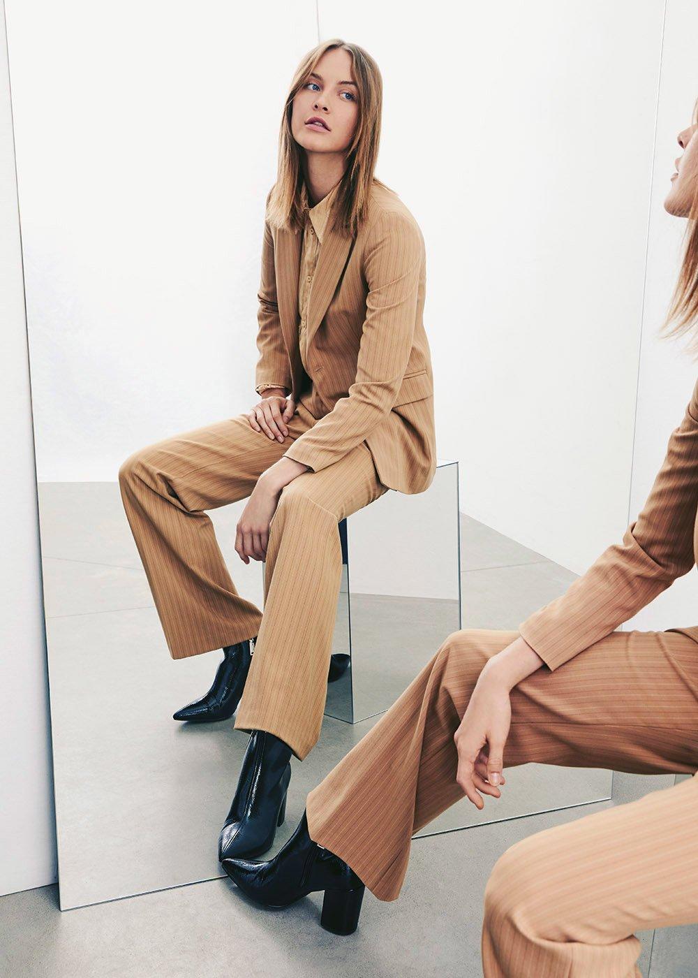 Giasminea pinstriped jacket - Doeskin Black Stripes - Woman