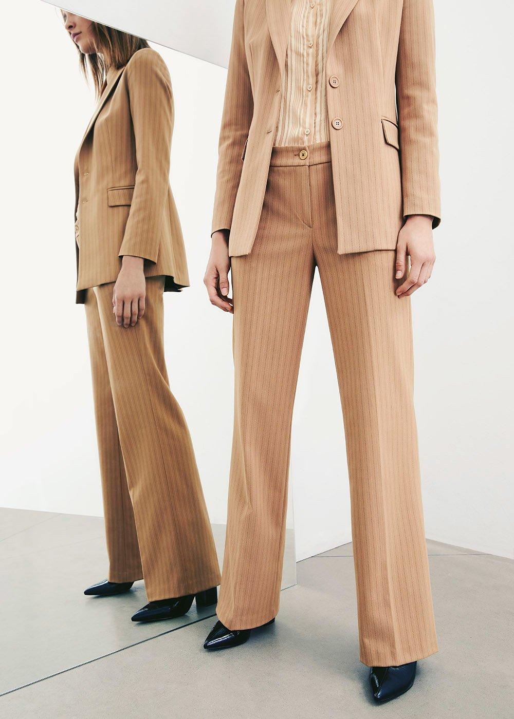 Pantalone Giorgia gessato - Doeskin Black Stripes - Donna