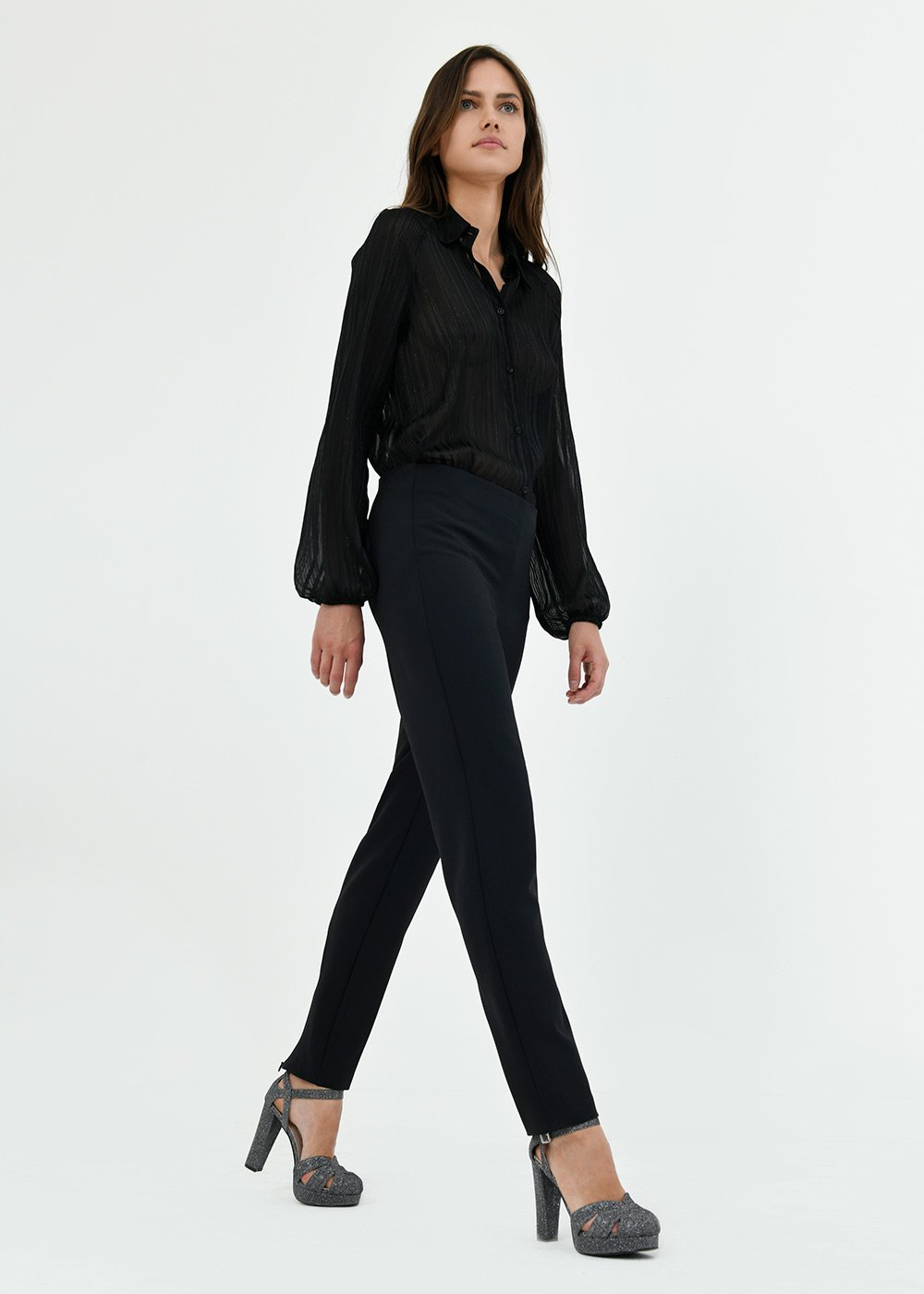 Claudia trousers with zipper on hem - Black - Woman