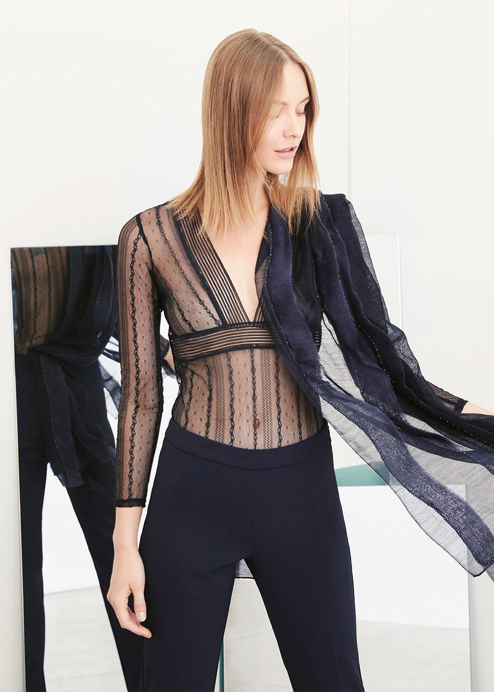 Suamy black lace bodysuit - Black - Woman