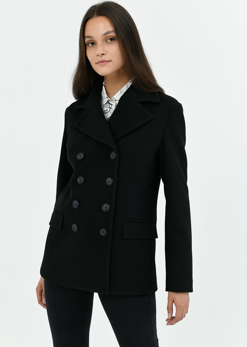Cappotto Ciril con rever - Black - Donna