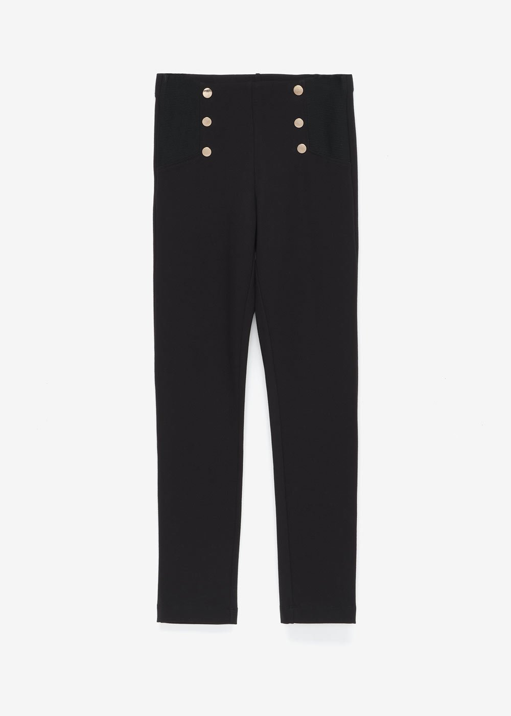 Leo leggings with golden buttons - Black - Woman