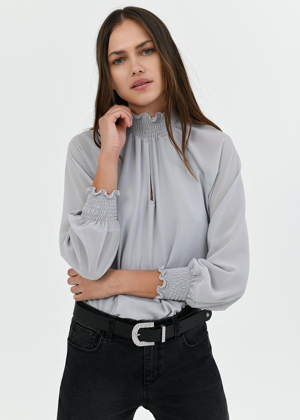Sylvia high-necked blouse - Moon - Woman