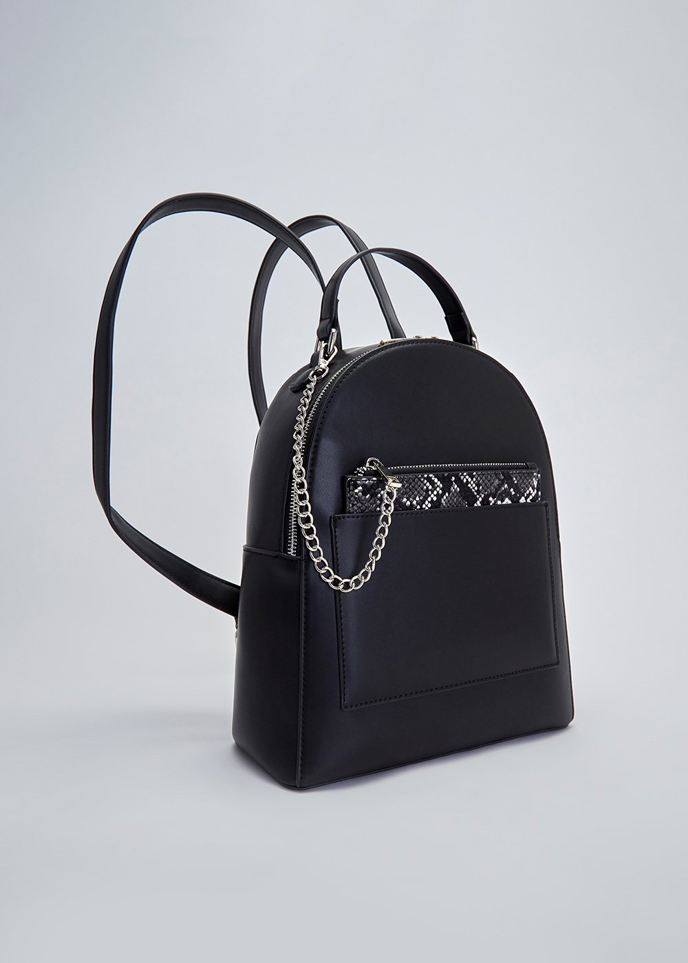 Byron backpack with python purse - Black - Woman