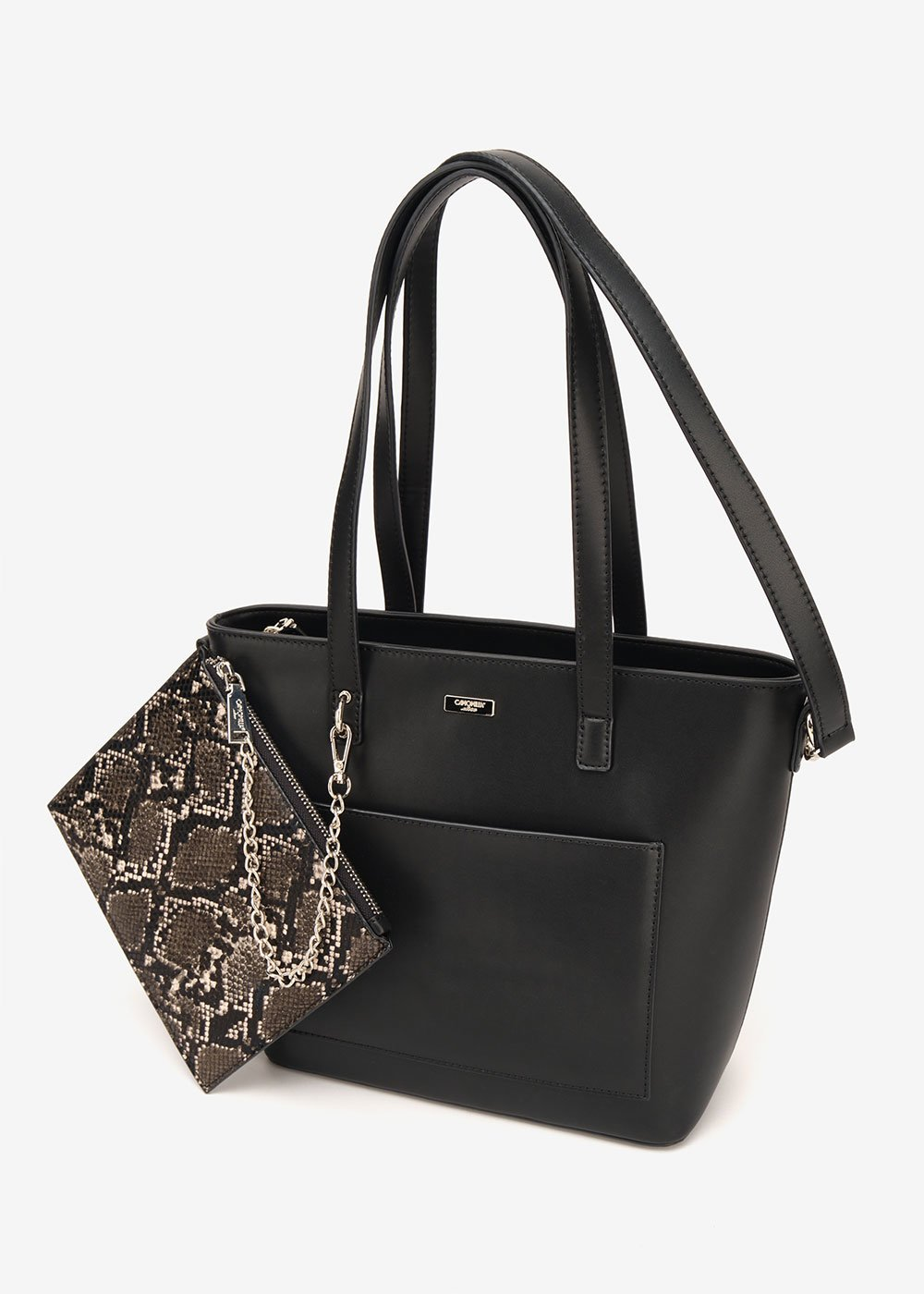 Shopping bag Bady con pochette pitonata - Black - Donna