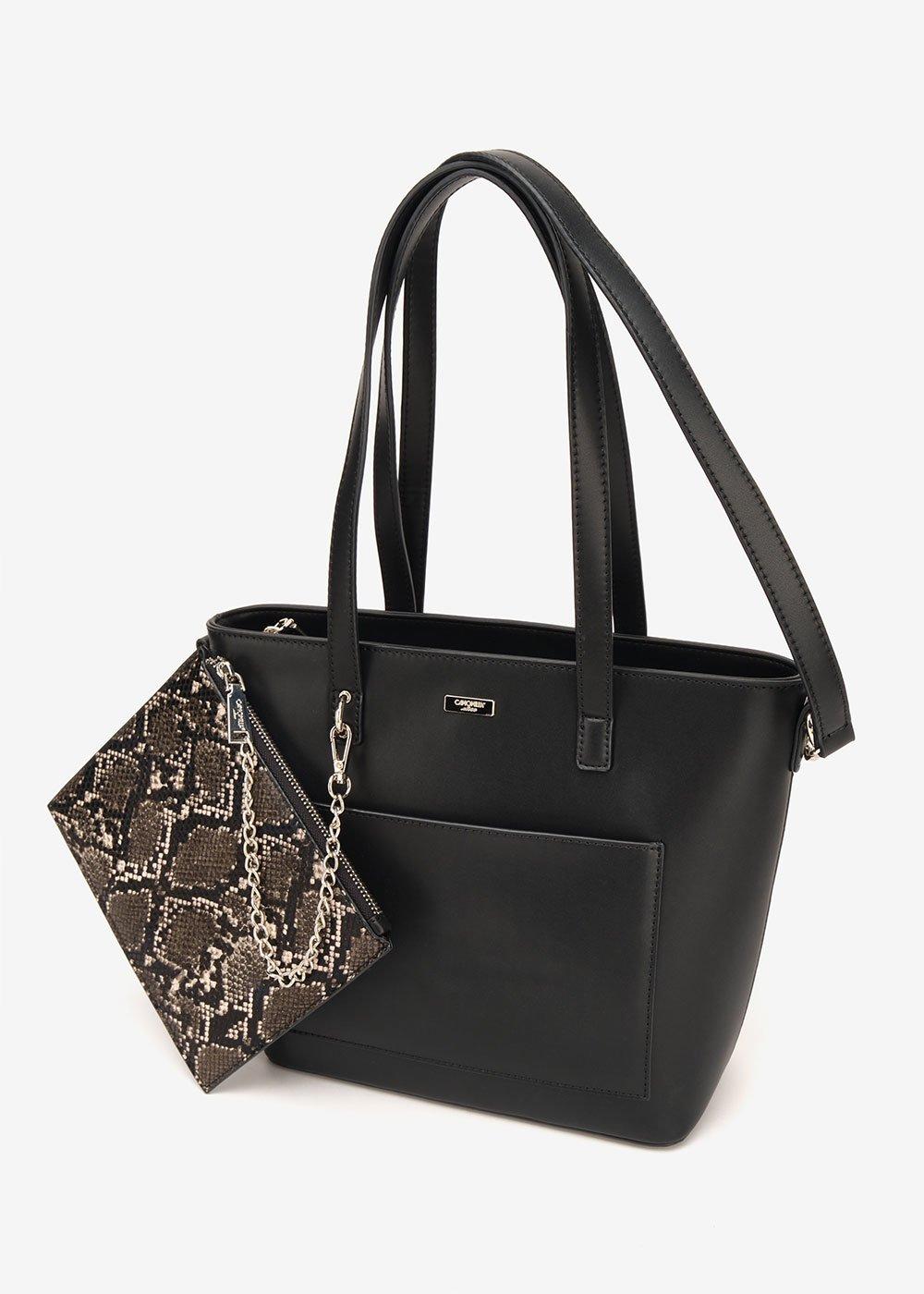 Bady shopping bag with python purse - Black - Woman