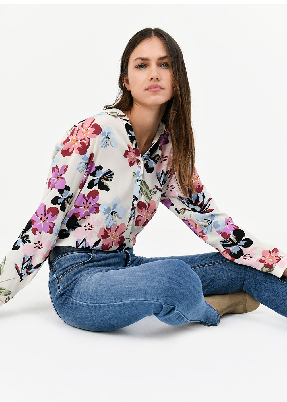 Carole shirt with floral pattern - White/Nude Multi - Woman