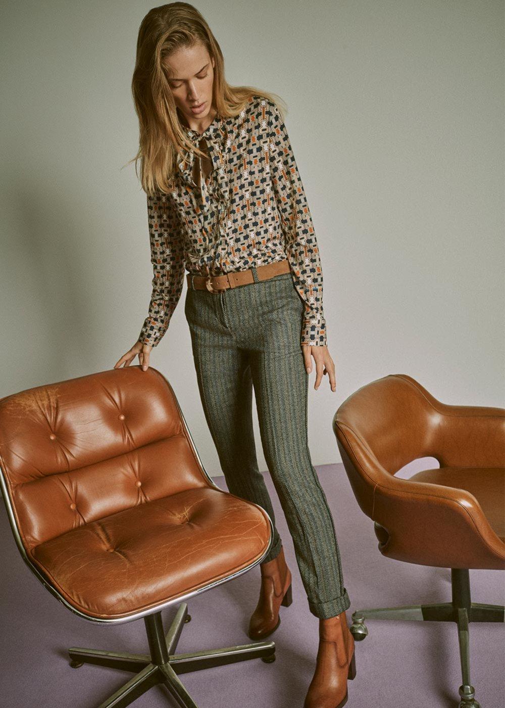 Bella trousers with herringbone effect - Metallo / Avion Fantasia - Woman
