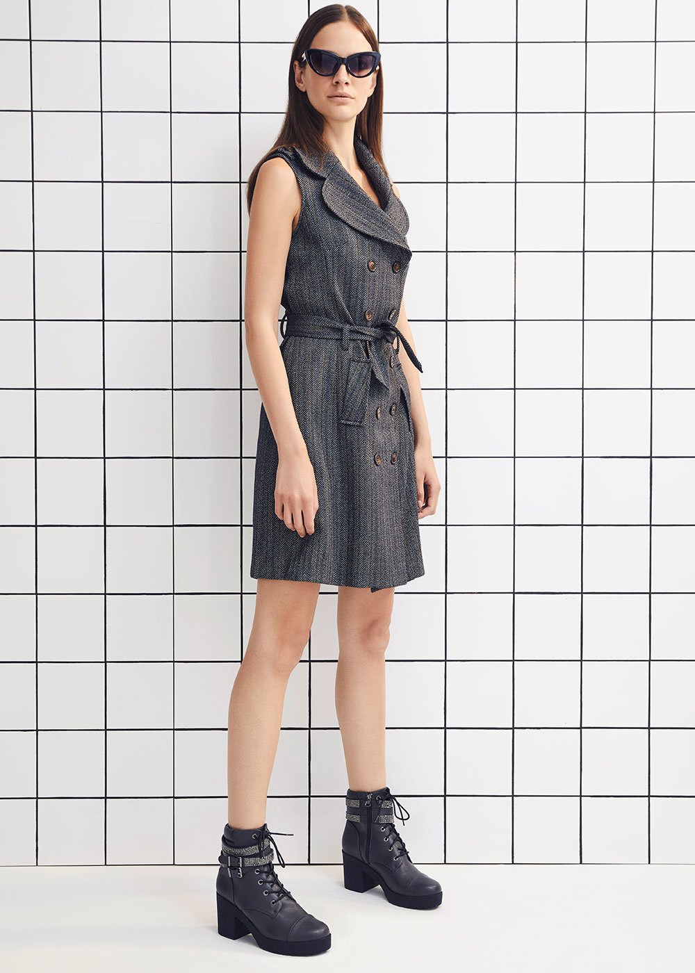 Adryen pinstripe waistcoat dress - Metallo / Avion Fantasia - Woman