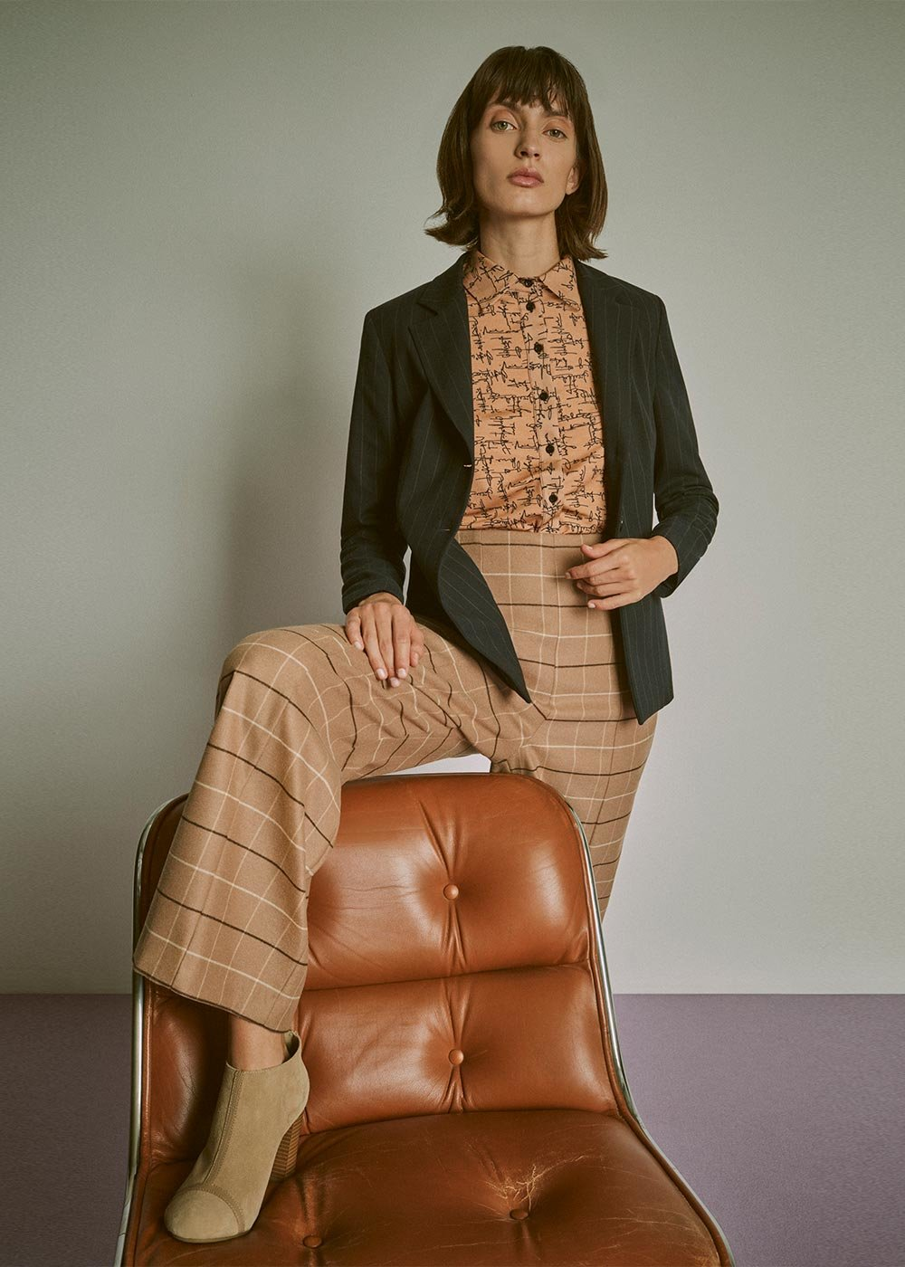 Peleo trousers with check print - L.beige / Marrone Fantasia - Woman