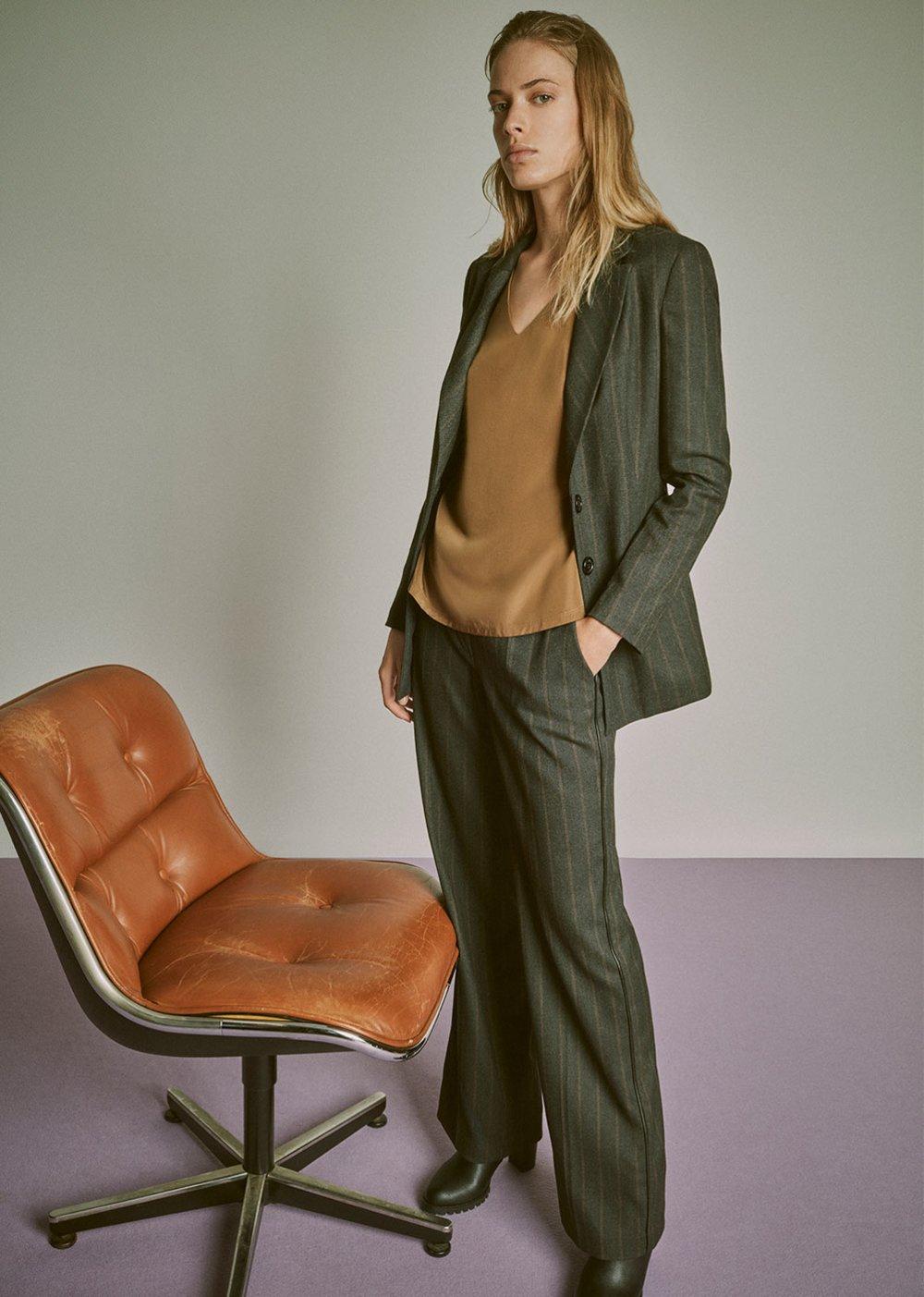 Ashley pinstripe trousers - Grey M.\Cacao Stripes - Woman