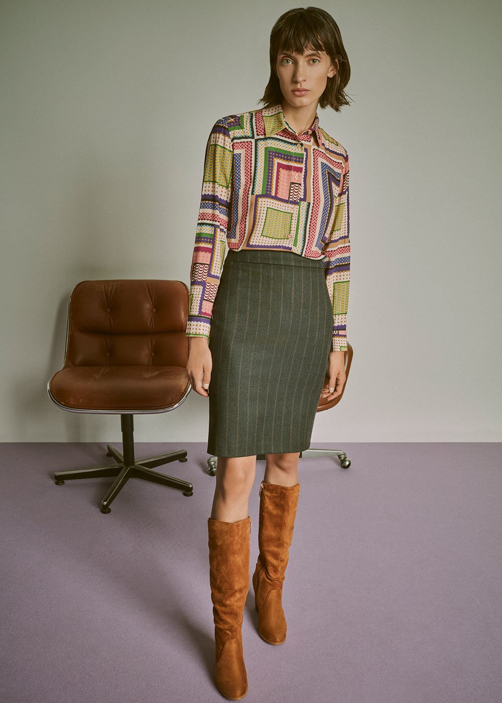 Grazia pinstripe skirt - Grey M.\Cacao Stripes - Woman