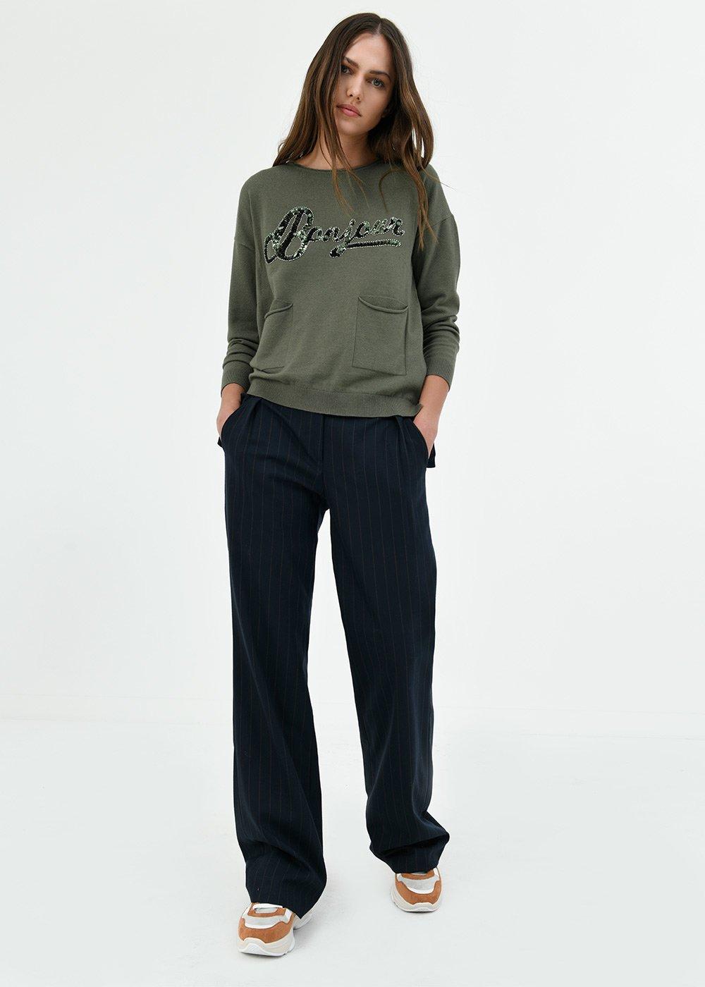 Pantalone Piramo in tessuto gessato - Blu /  Cacao Stripes - Donna