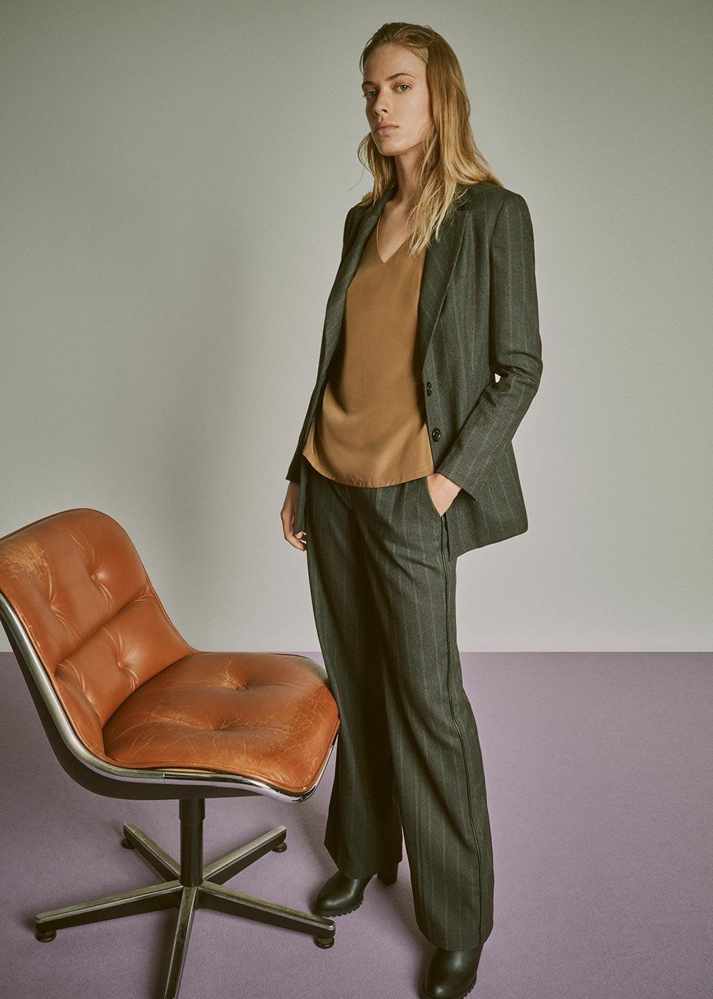 Giasmine pinstripe jacket - Grey M.\Cacao Stripes - Woman