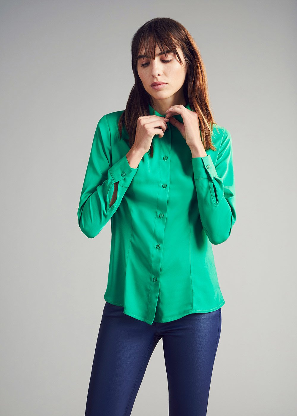 Crizia shirt with satin effect - Green - Woman