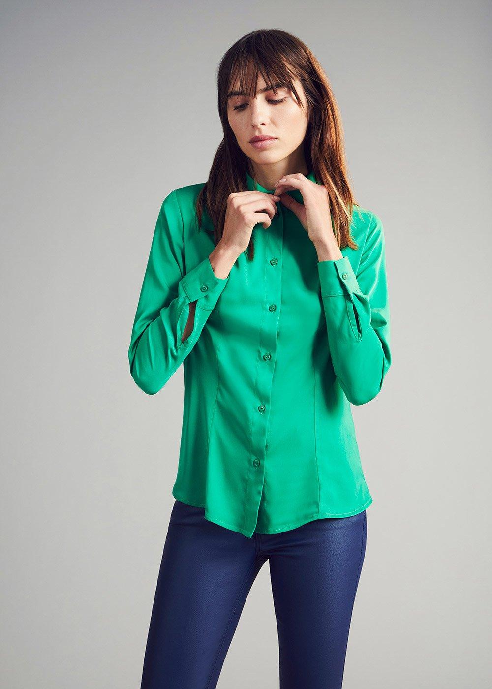 Camicia Crizia effetto satine - Conifera - Donna