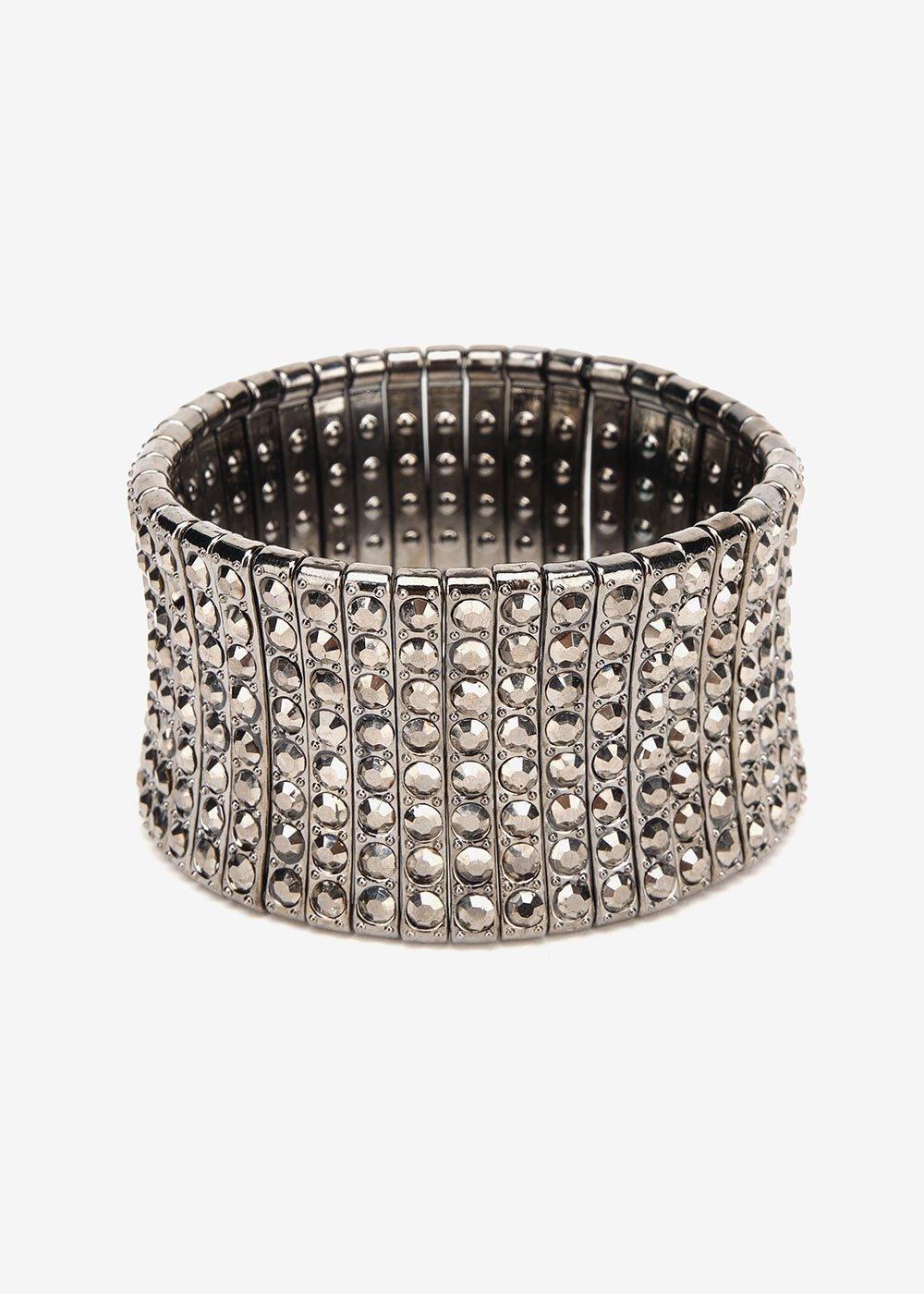Bindy bracelet with rhinestones - Gun Metal - Woman