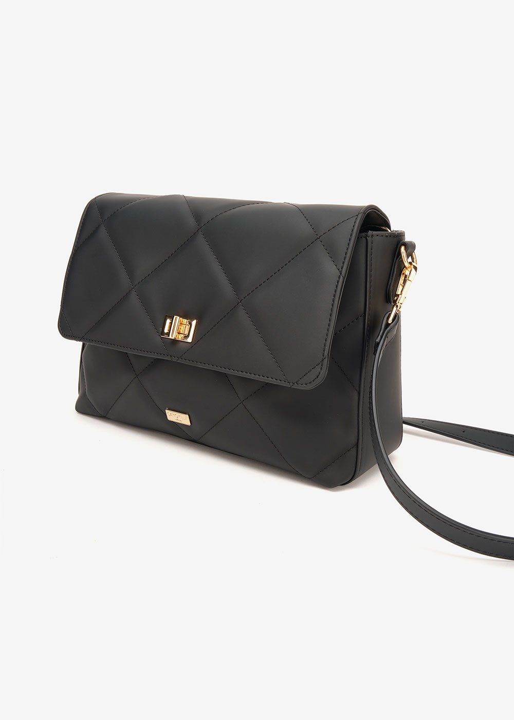 Beck shoulder bag with rubberized effect - Black - Woman