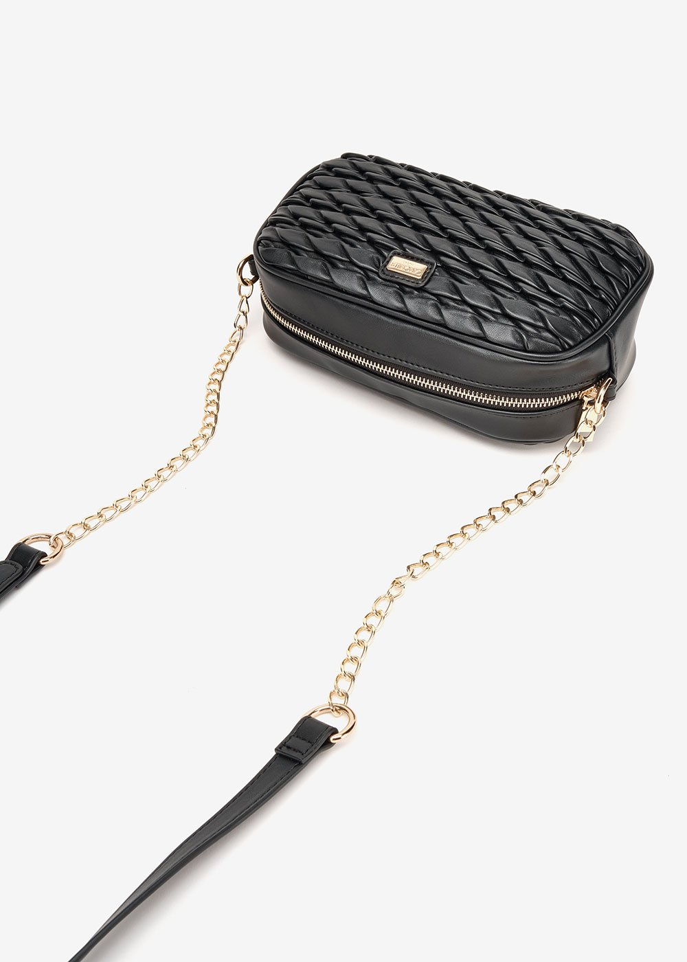 Beth embossed faux-leather clutch bag - Black - Woman