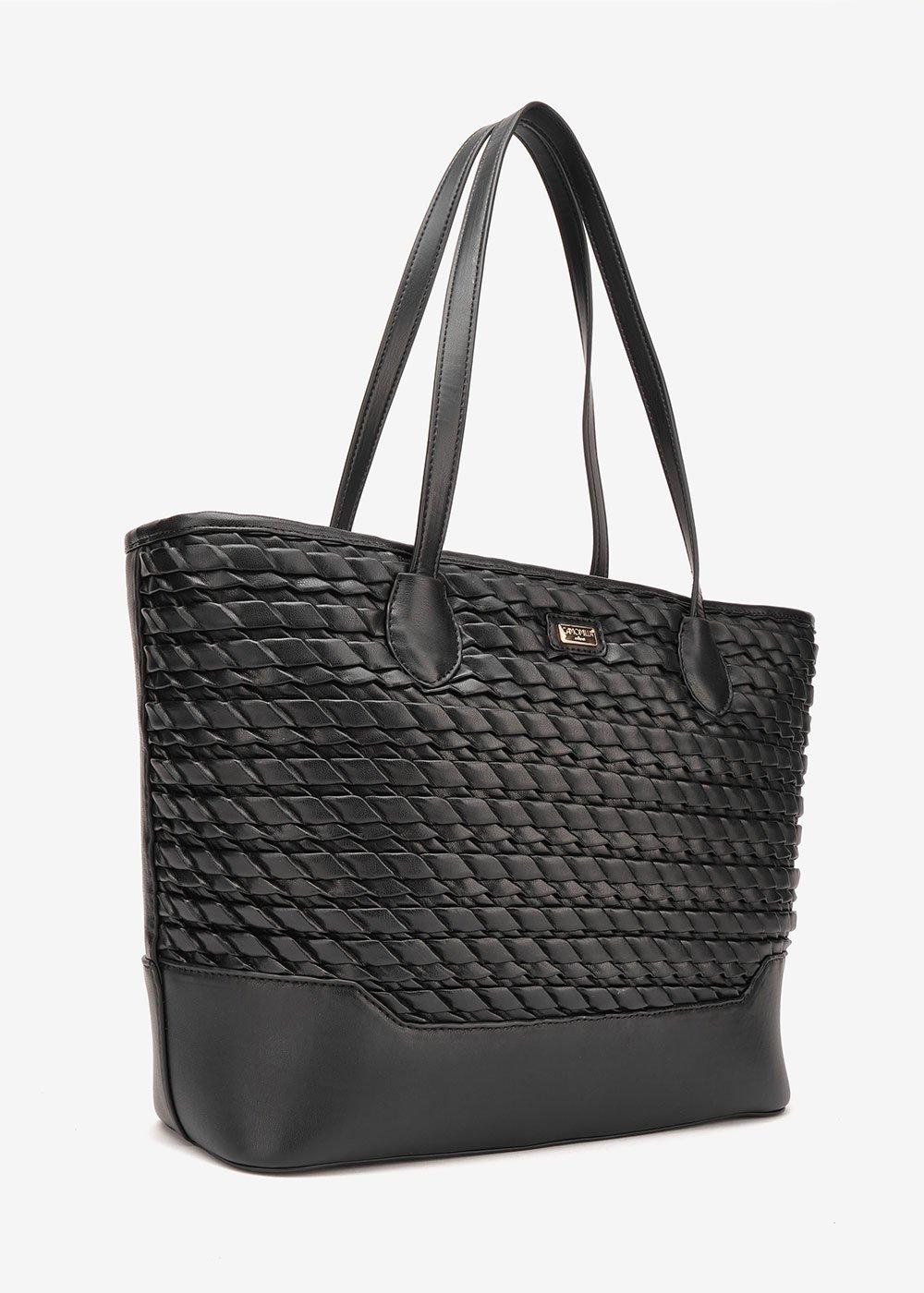 Bailee embossed shopping bag - Black - Woman