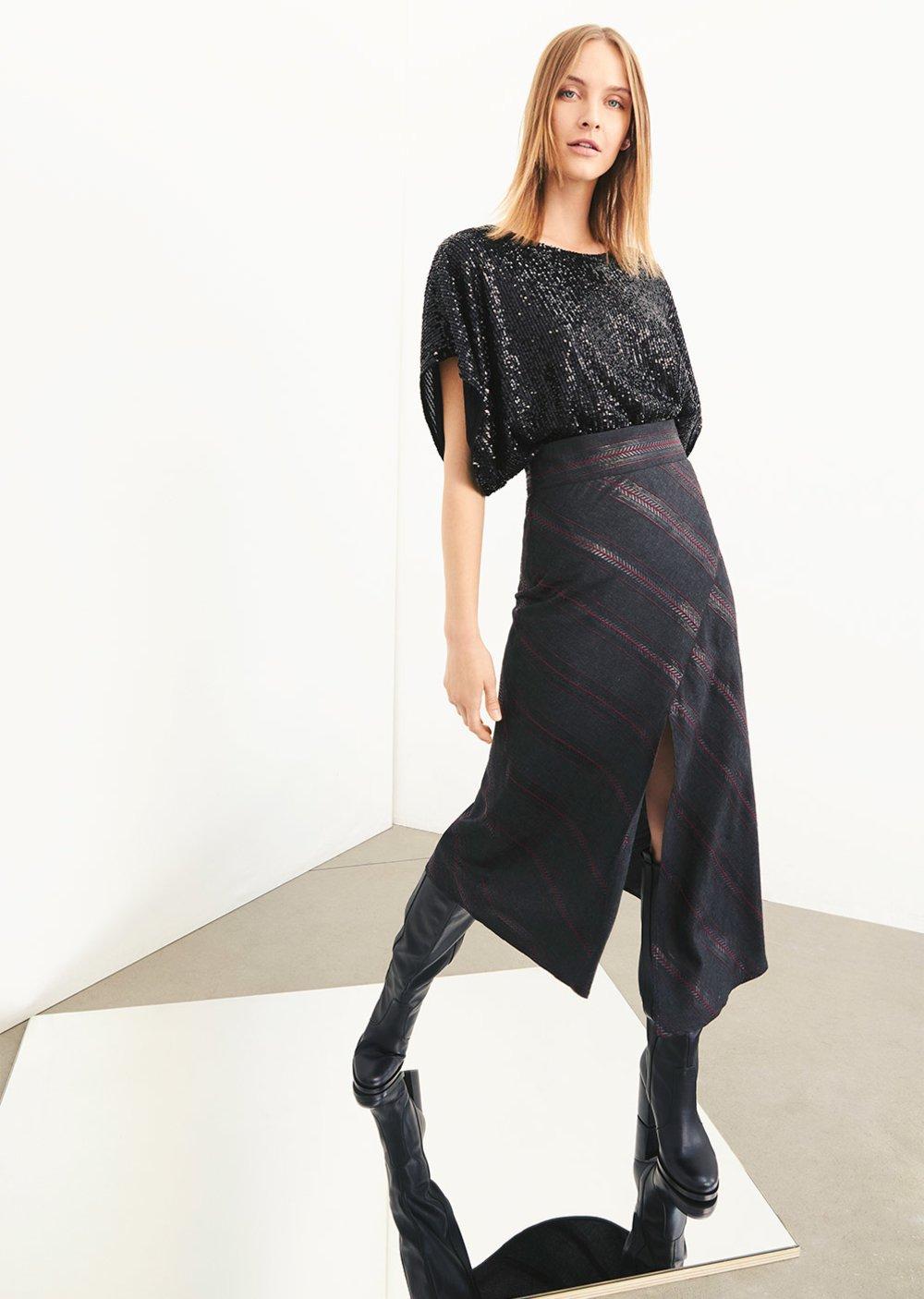 Blusa di paillettes Stefy manica ampia - Black - Donna