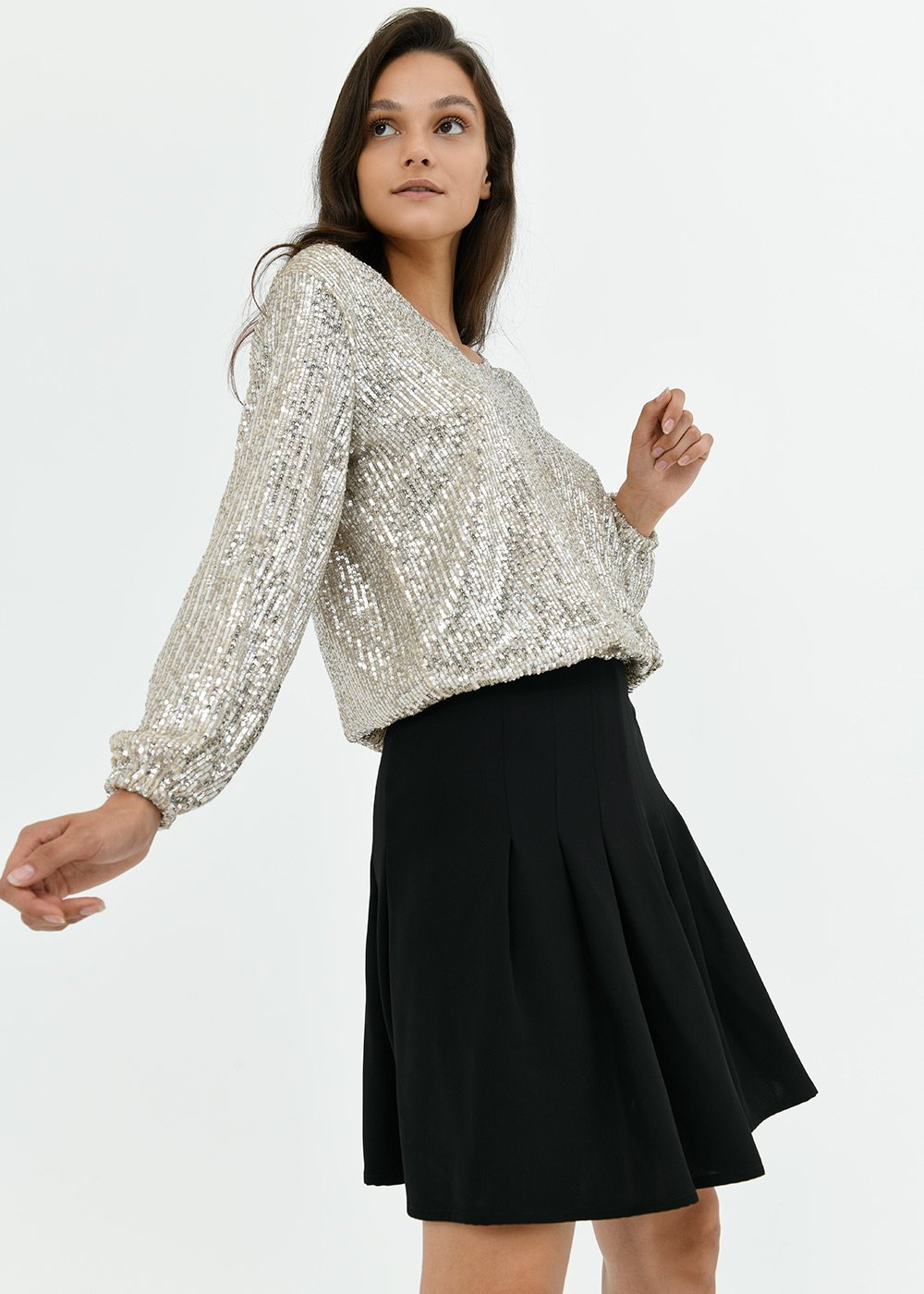 Stacy sequined t-shirt - Silver - Woman