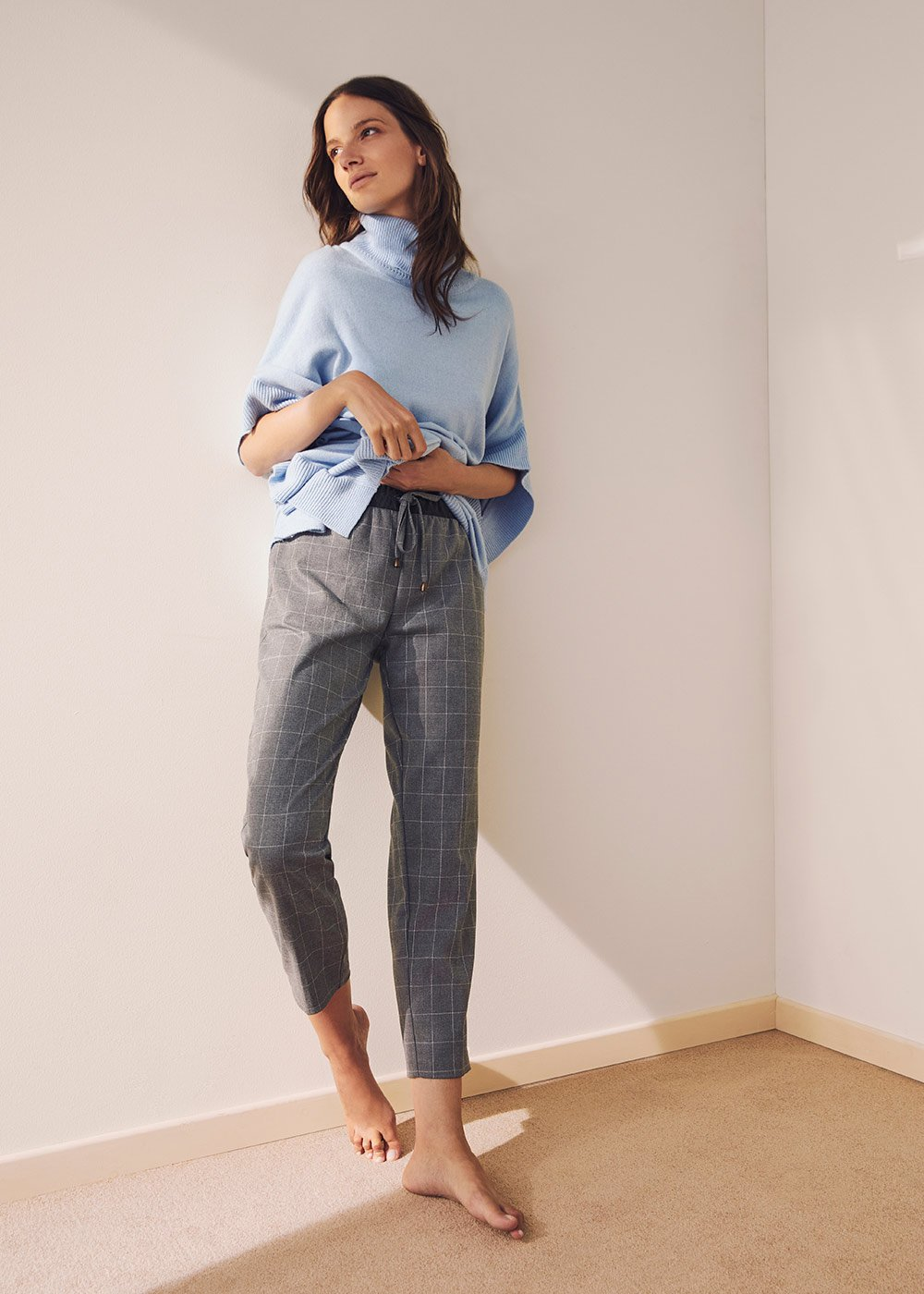 Pantalone Cara in tessuto flanella  - Light grey\White Fantasia - Donna