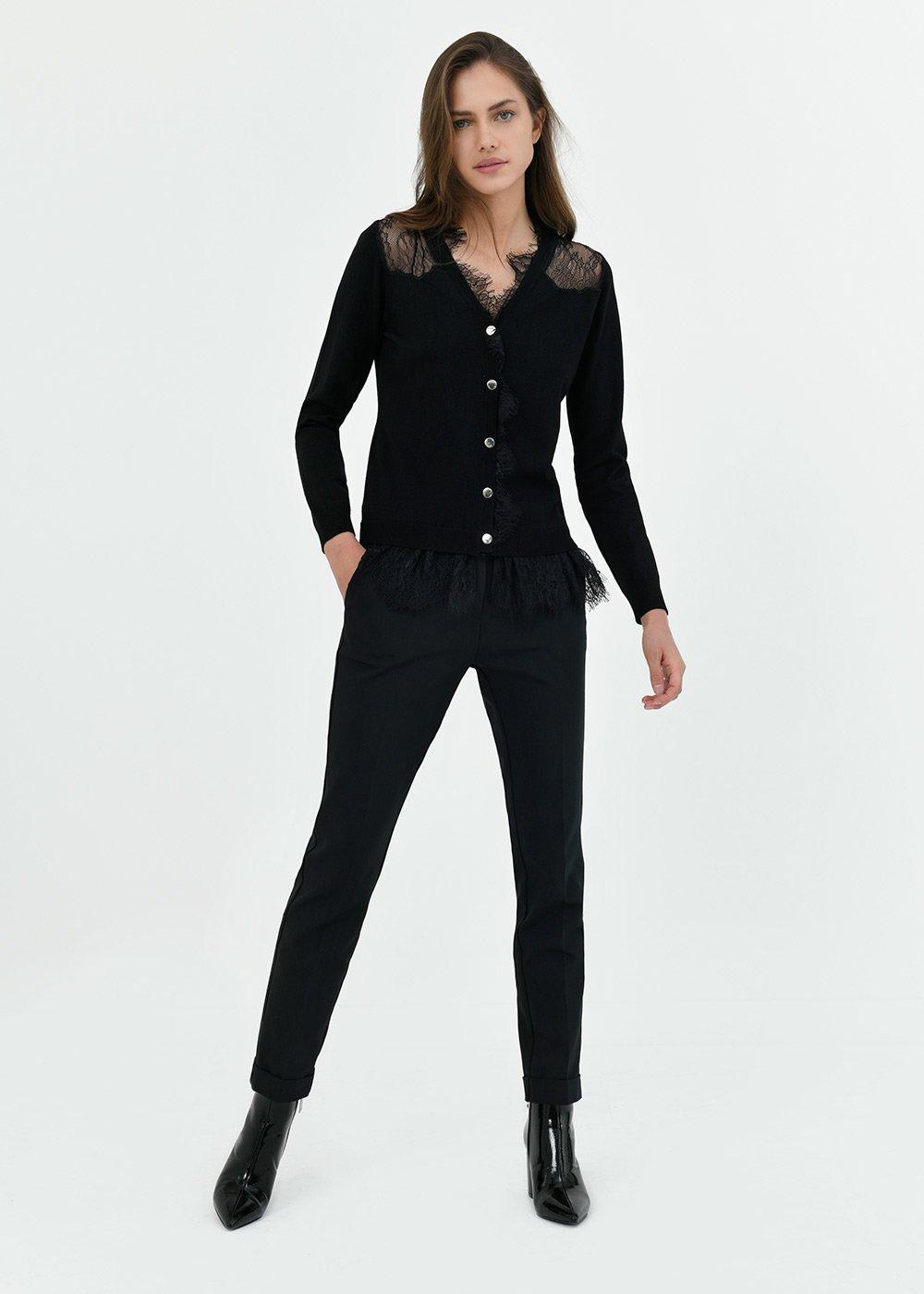 Pantalone Bella con piega al fondo - Black - Donna