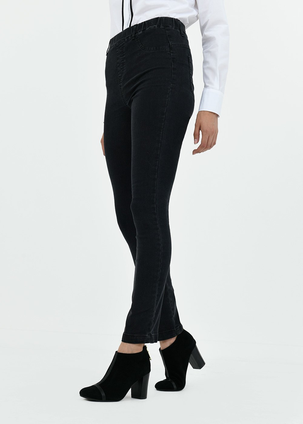 Cotton jeggings with covered elastic band - Black - Woman