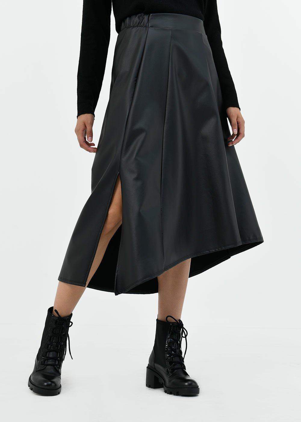Gloria circle faux-leather skirt - Black - Woman