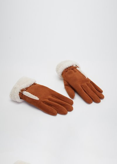 Gliss hemmed genuine suede gloves