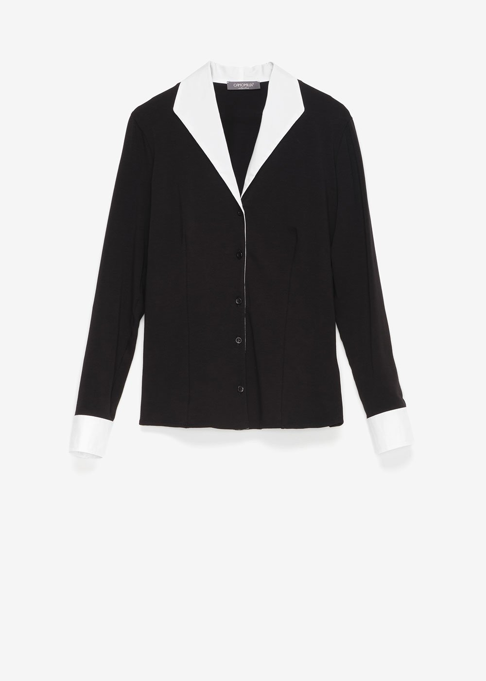 Connie shirt with lapel and cuffs - Black / White - Woman