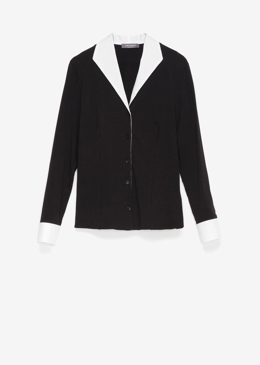 Camicia Connie con rever e polsini - Black / White - Donna