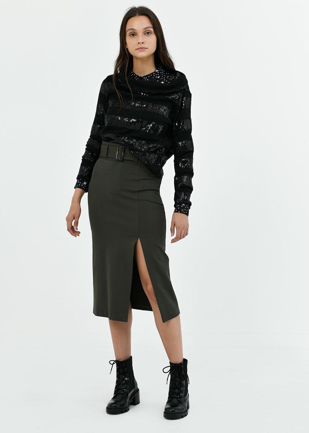 Gaya pencil skirt with waist belt - Green - Woman