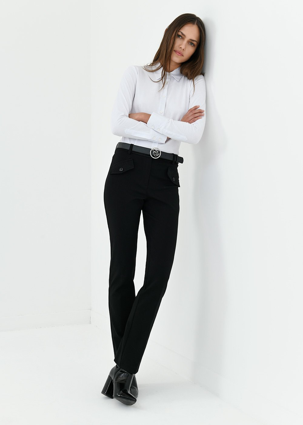 Pantalone Carrie in tessuto milano - Black - Donna