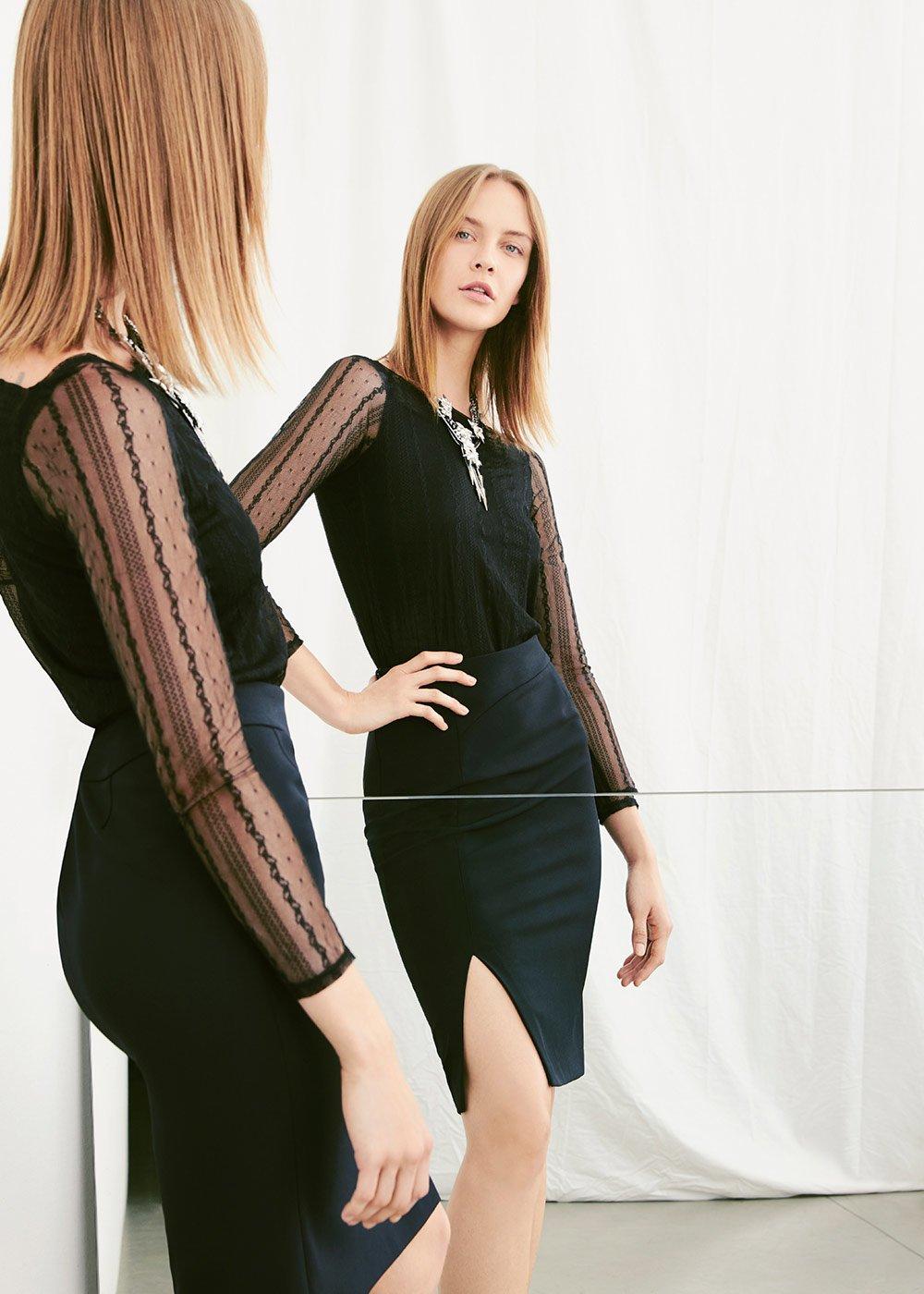 T-shirt Sheela in tulle ricamato - Black - Donna