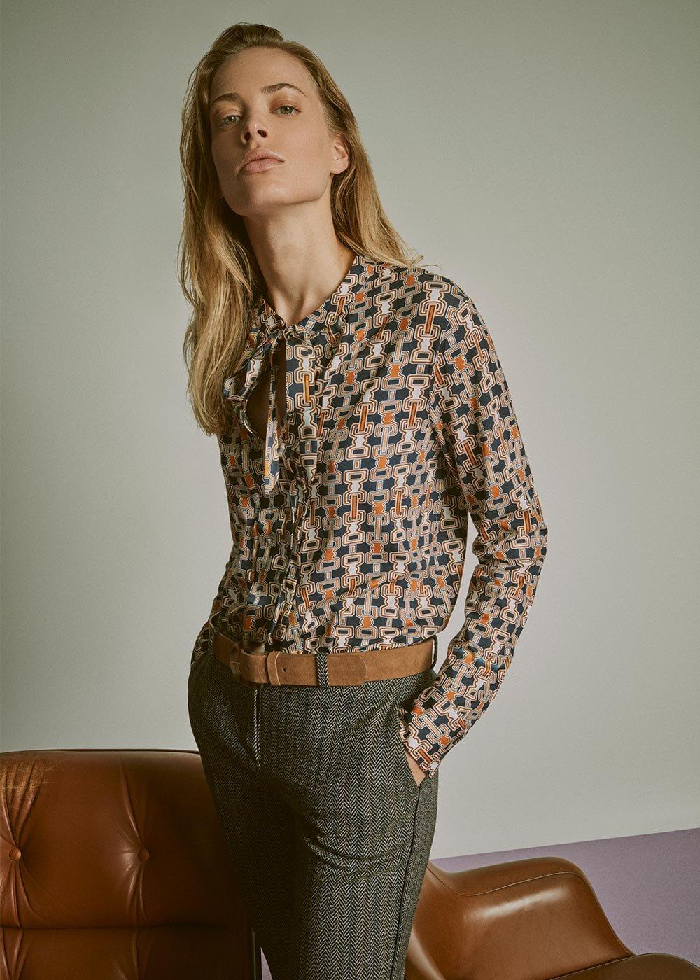 T-shirt Sabyna scollo a V - Blue Miele Fantasia - Donna