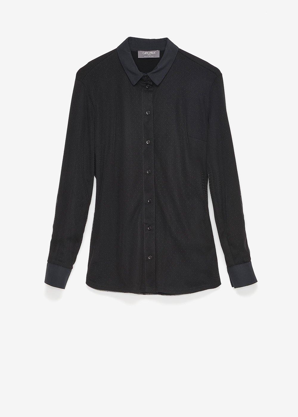 Camicia Christie in tulle pointillè - Black - Donna