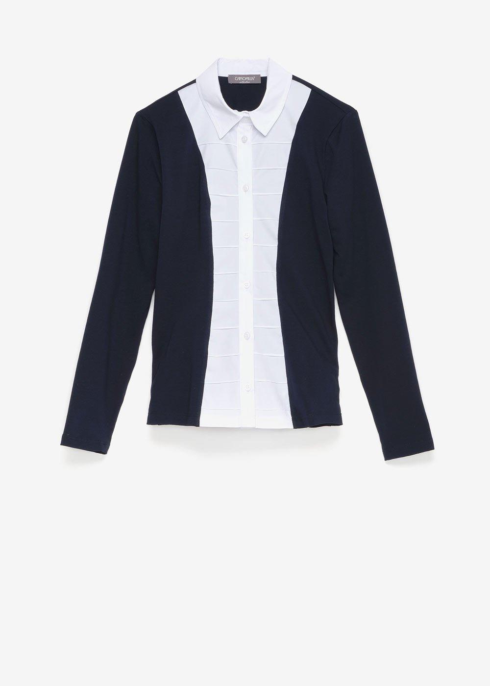 Catryn shirt with poplin bib - Blue / White - Woman